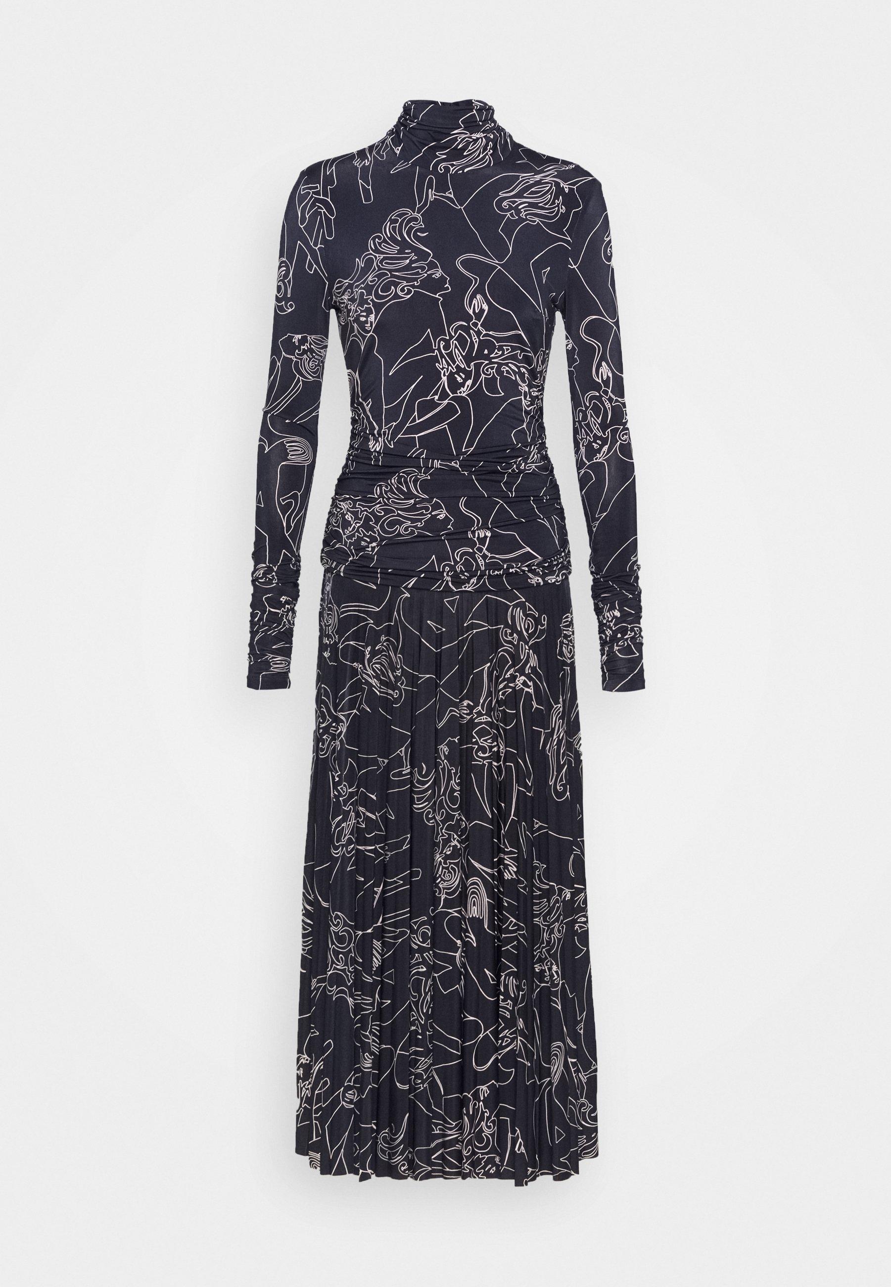 Victoria Victoria Beckham PRINTED PLEATED DRESS - Robe en jersey - midnight blue