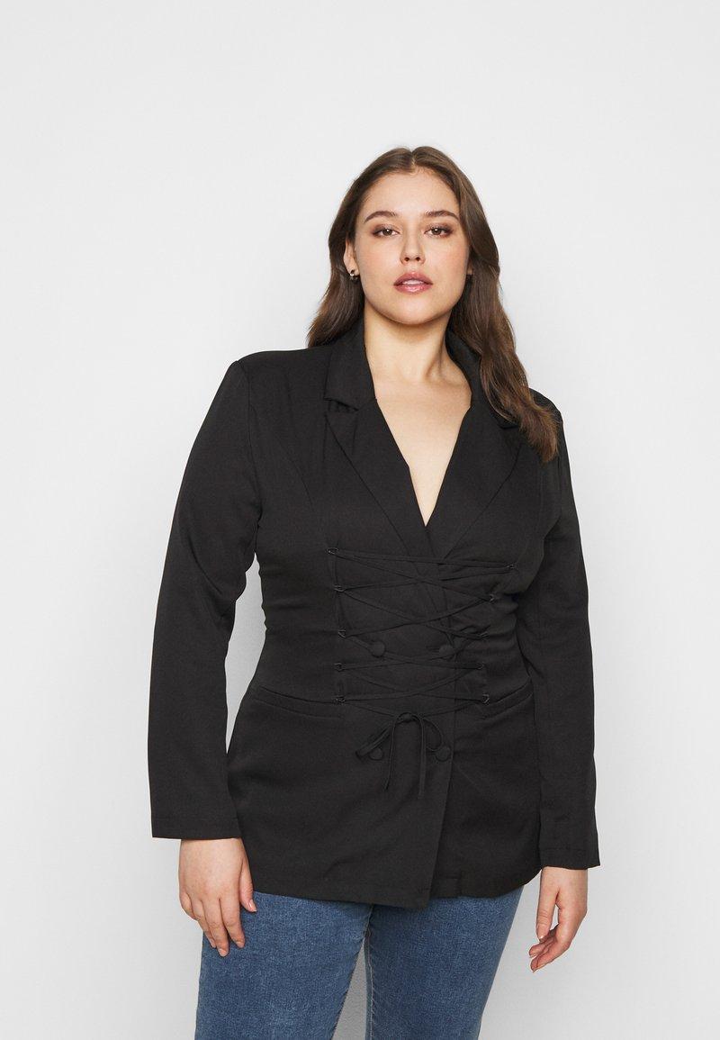 Missguided Plus - LACE UP - Blazer - black