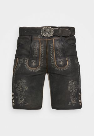 THOMAS - Leather trousers - graphit vintage