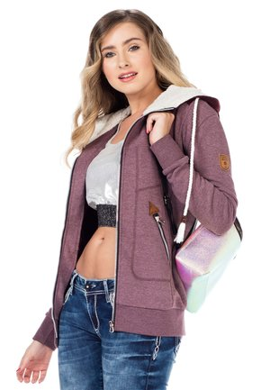 MIT GEPOLSTERTER KAPUZE - Zip-up sweatshirt - burgundy