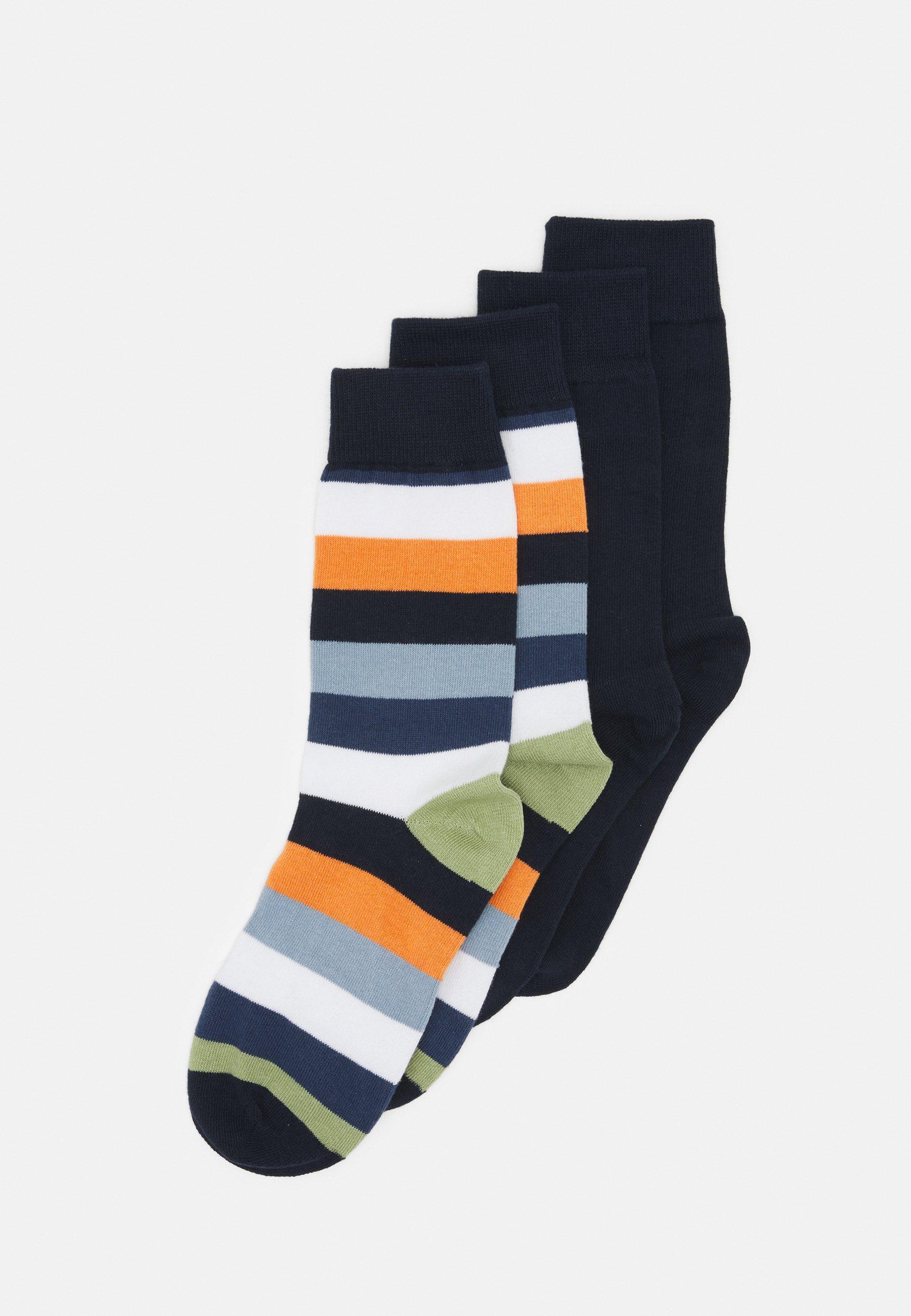 Men TIMBER BLOCK STRIPED SOLID SOCKS VEGAN 4 PACK - Socks