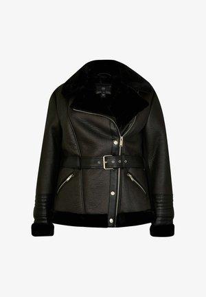 AVIATOR - Imitatieleren jas - black