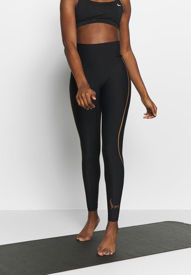 SCULPTURE HIGH WAIST  - Leggings - brown metallic