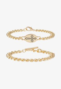 Topman - CROSS AND BAR 2PACK - Pulsera - gold-coloured - 3