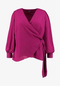 Fashion Union Plus - FASHION UNION WRAP WITH SIDE KNOT DETAIL - Blouse - cranberry - 3