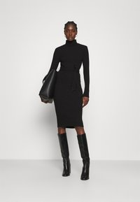 Dorothy Perkins - BRUSHED BODYCON TIE WAIST - Shift dress - black - 1