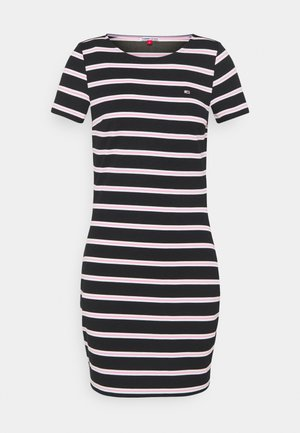 STRIPED BODYCON DRESS - Žerzejové šaty - black/multi