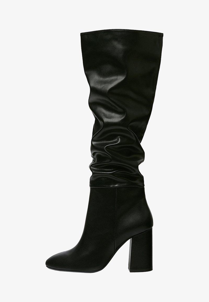 PULL&BEAR - Kozačky na vysokém podpatku - black