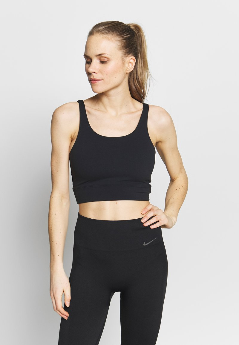 Nike Performance - W NK YOGA LUXE CROP TANK - Sportshirt - black/dark smoke grey