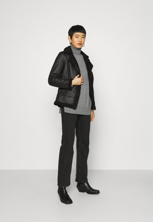 COATED SHEARLING AVIATOR JACKET - Light jacket - black