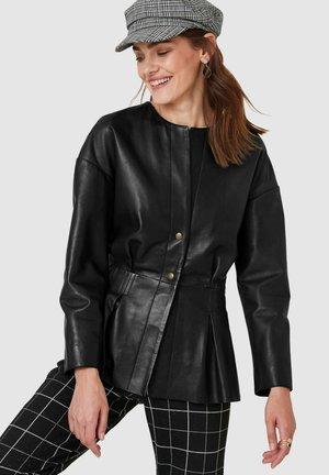 Leather jacket - anthrazit