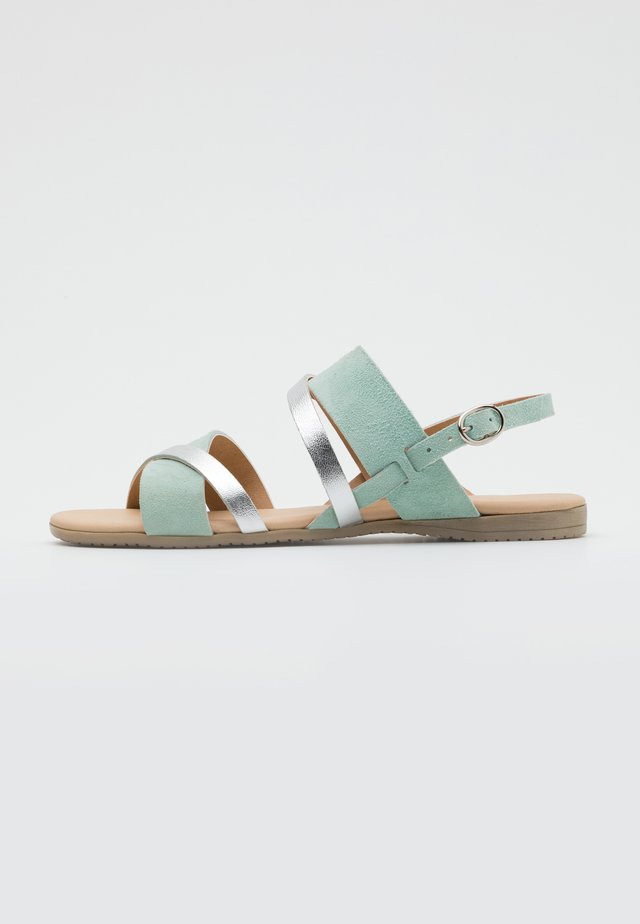 LEATHER - Sandals - mint/silver