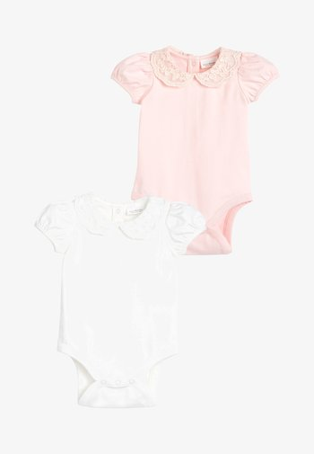 PINK/CREAM 2 PACK LACE COLLAR SHORT SLEEVE BODYSUITS (0MTHS-2YRS - Basic T-shirt - pink