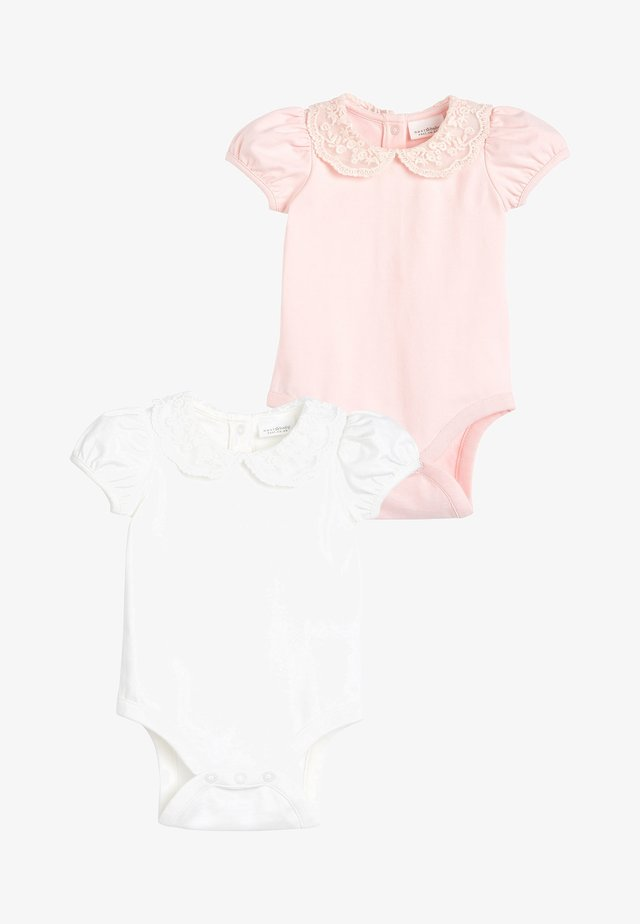 PINK/CREAM 2 PACK LACE COLLAR SHORT SLEEVE BODYSUITS (0MTHS-2YRS - Jednoduché triko - pink