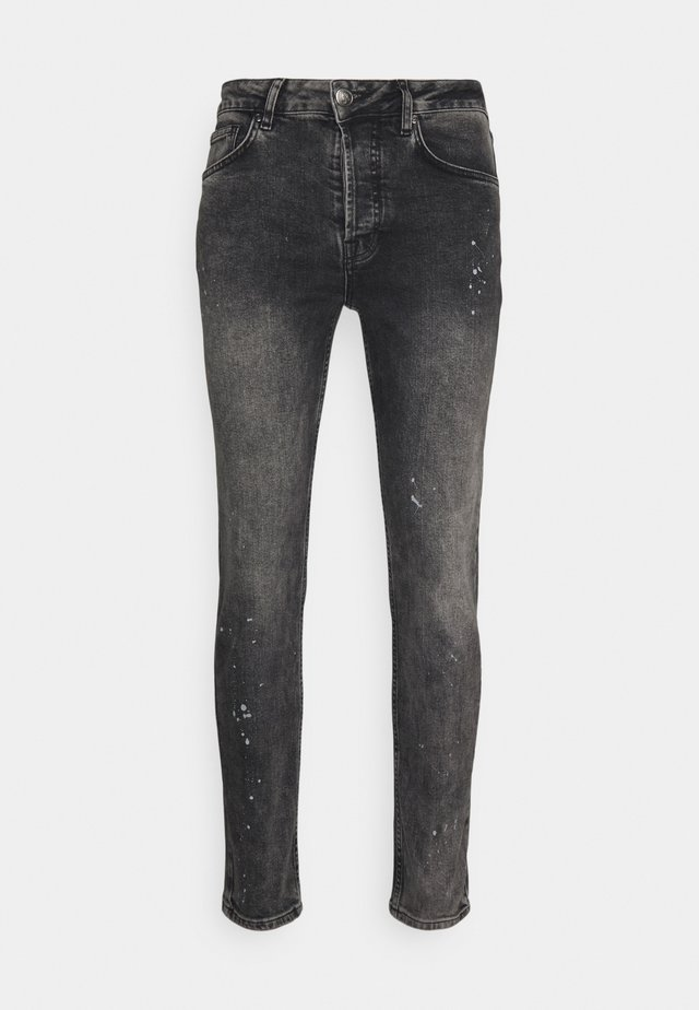 Jeans slim fit - mid grey paint splatter