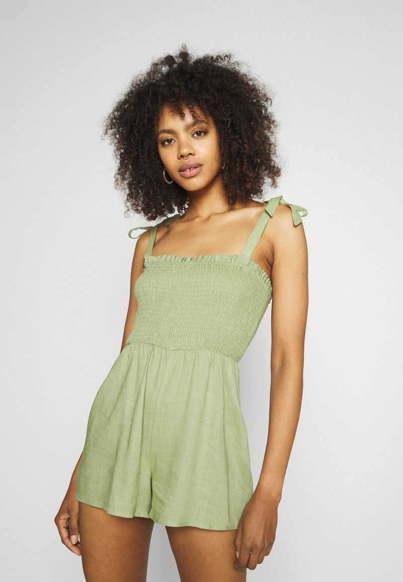 Missguided - TIE STRAP SHIRRED BODICE PLAYS - Overal - khaki