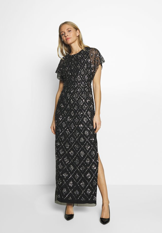 LONG BEADED DRESS - Abito da sera - black