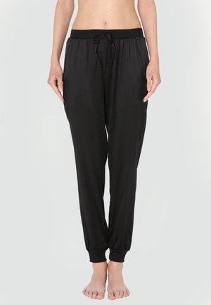 LANGE HOSE AUS SEIDE UND LYOCELL - Pyjama bottoms - black