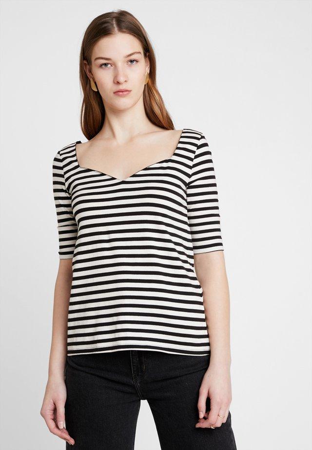 Print T-shirt - black/off-white