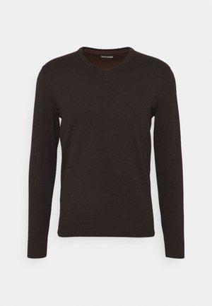 BASIC VNECK - Jumper - dark brown melange