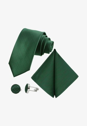 MORENO CRAVATTA 3SET  - Pocket square - schwarz  smaragdgruen emerald grün karos