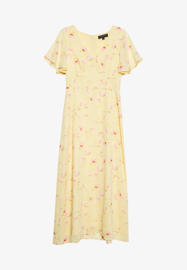 DITSY DOBBY SEAMED MIDI DRESS - Day dress - sunshine yellow
