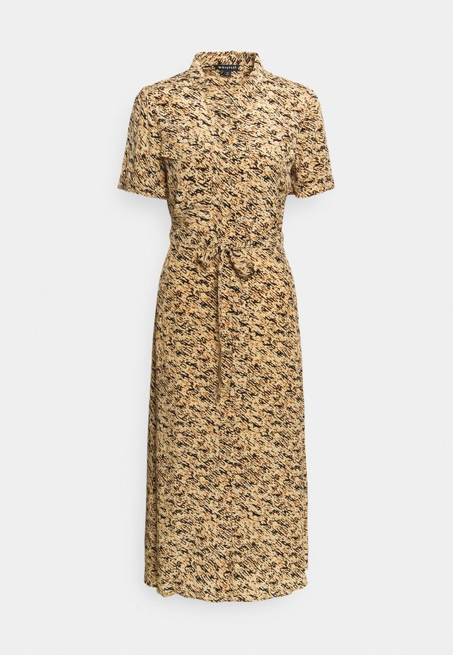 TIE FRONT SHIRT DRESS - Korte jurk - brown