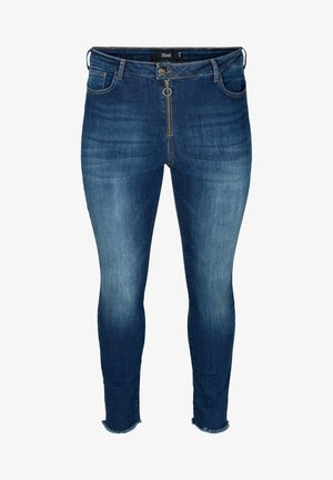 WITH FRAYED EDGES - Slim fit jeans - blue