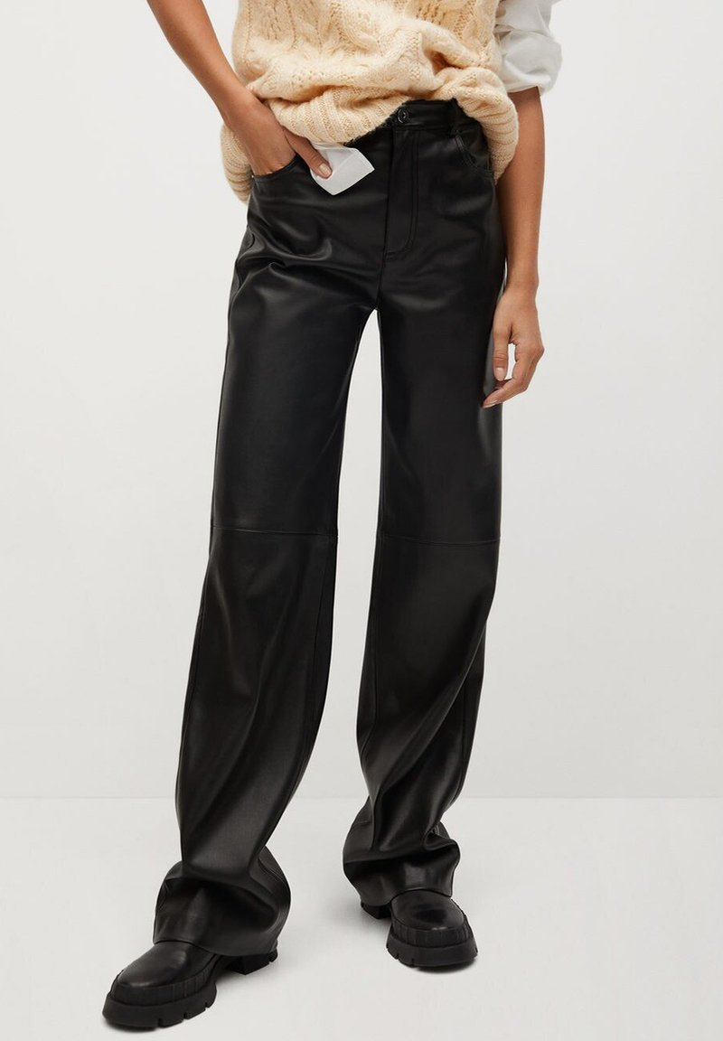 Mango - HIGH - Trousers - zwart