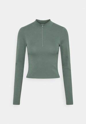 SPORTY ZIP - Long sleeved top - dark green