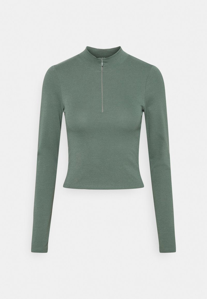 Nly by Nelly - SPORTY ZIP - Long sleeved top - dark green