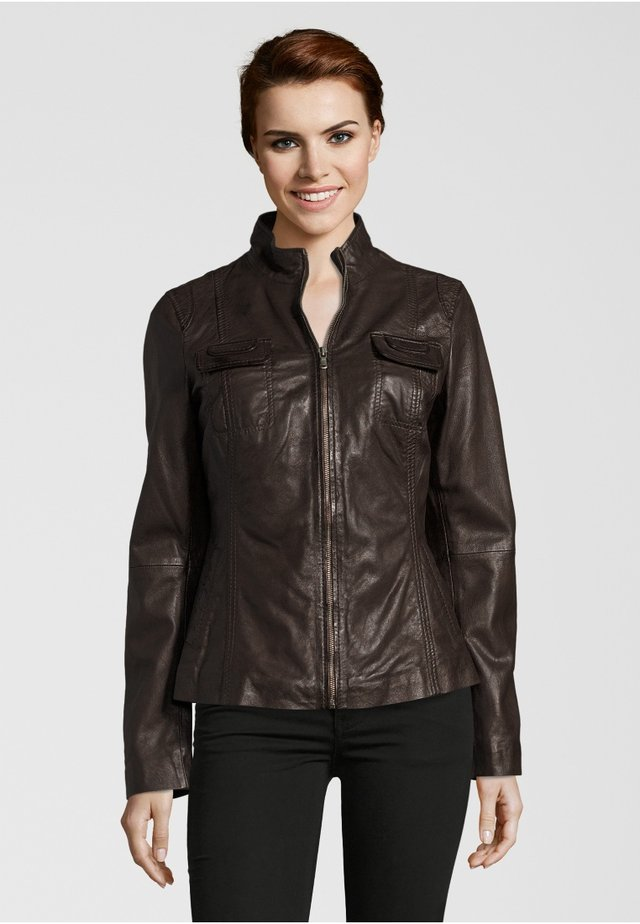 FLOWER - Leather jacket - dark brown