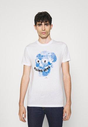 SLIM FIT FLORAL SKULL LOGO - Print T-shirt - white