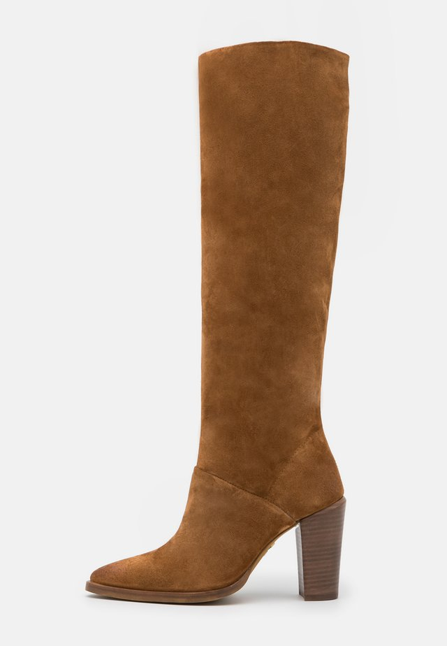 NEW AMERICANA - Boots med høye hæler - cognac