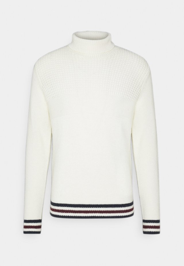 TEXTURED ROLL NECK - Pullover - ivory