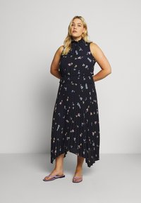 Vince Camuto Plus - ROMANTIC BUDS PLEATED DRESS - Maxikjoler - dark blue - 0