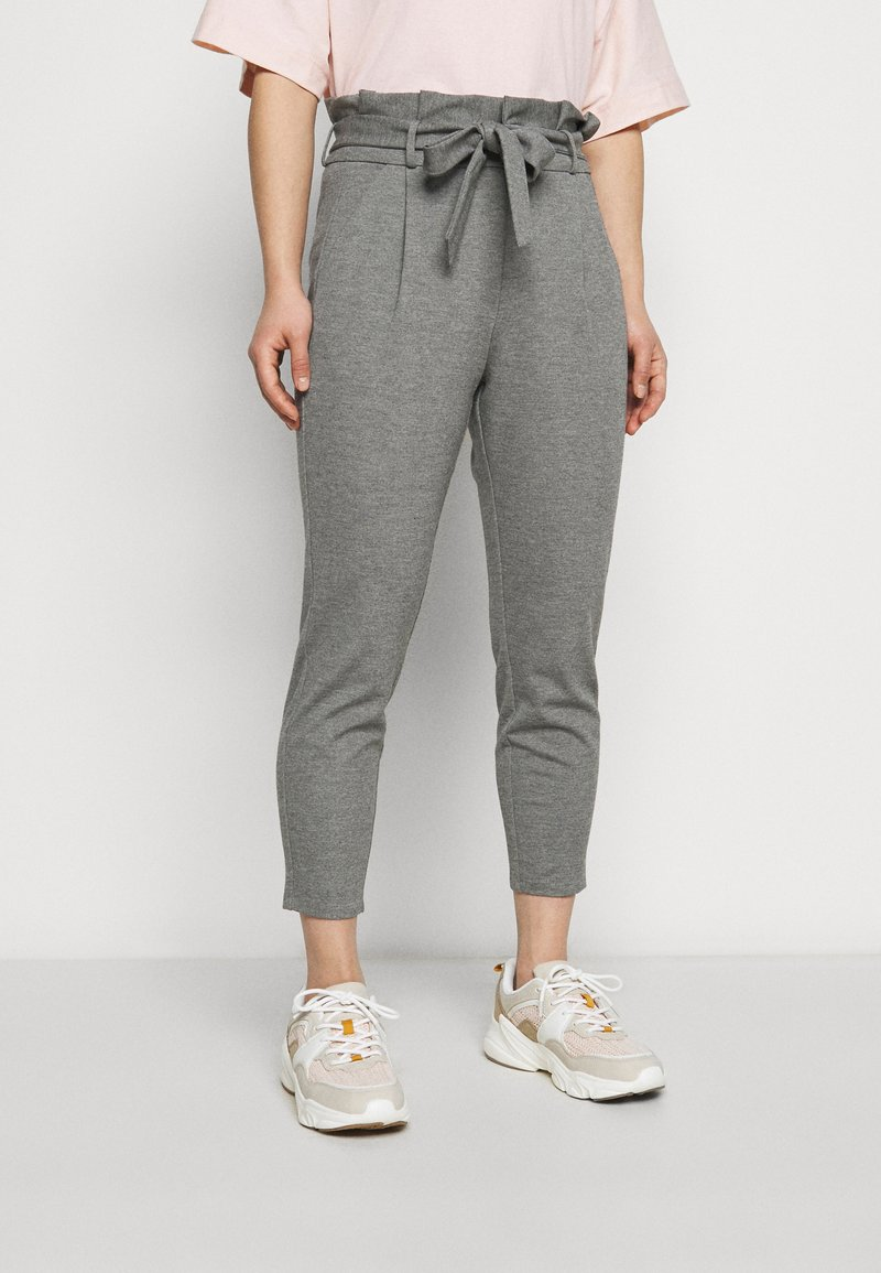 Vero Moda Petite - VMEVA LOOSE PAPERBAG PANT - Trousers - medium grey melange