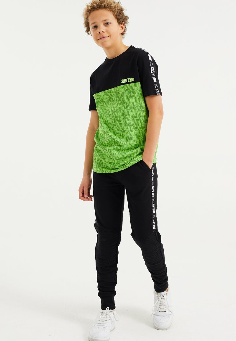 WE Fashion - T-shirt print - green, black