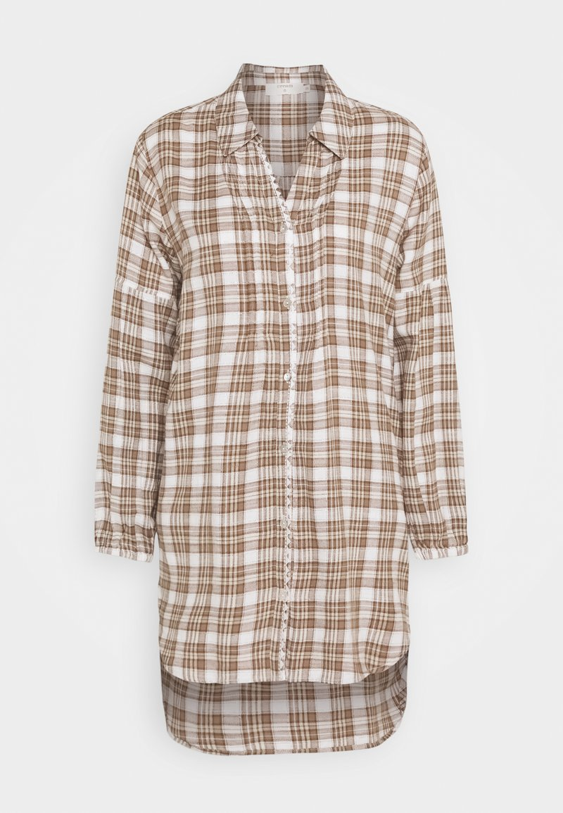 Cream - CHEKIA SHIRT - Button-down blouse - brown
