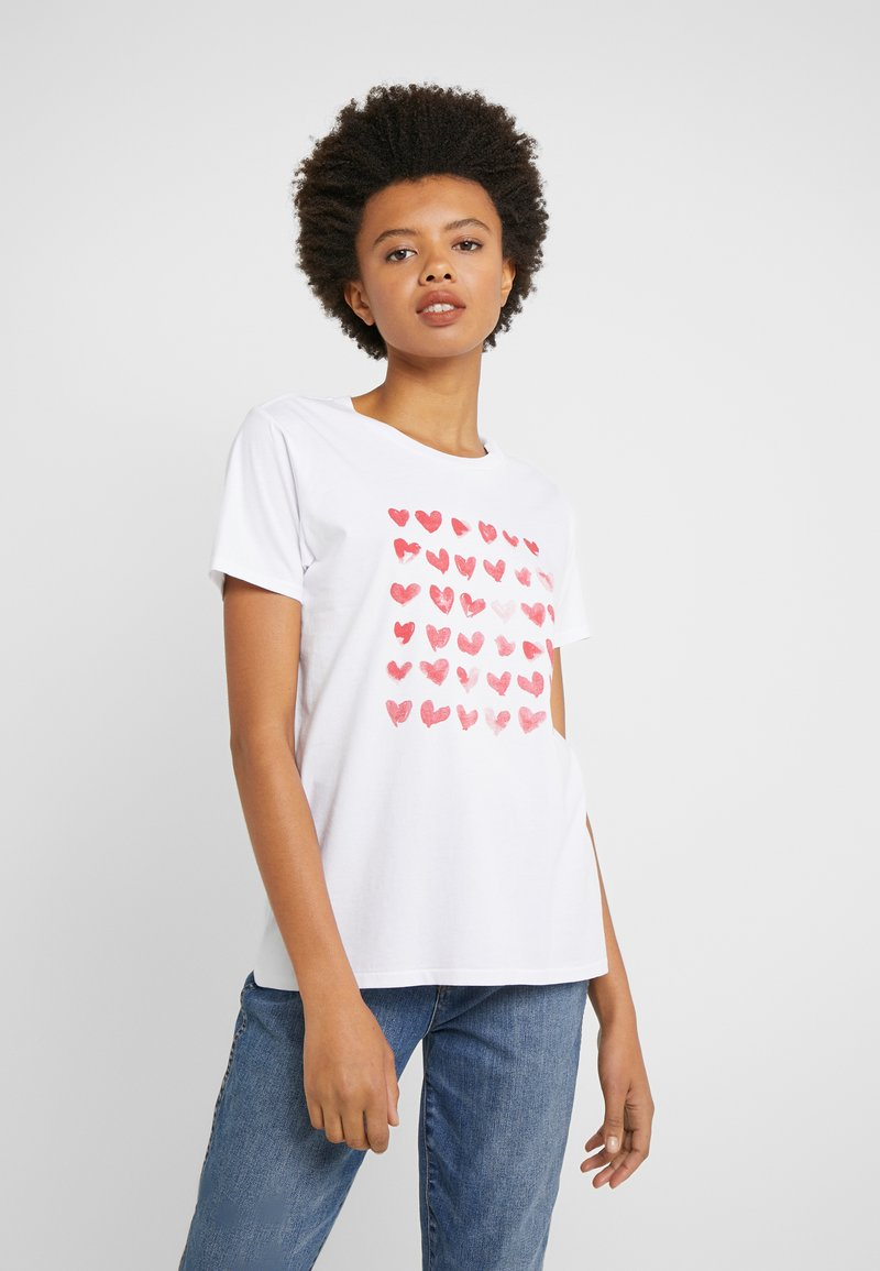 J.CREW - MOTHER'S DAY HEARTS CREWNECK - Print T-shirt - ivory