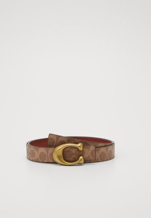 SCULPTED REVERSIBLE SIGNATURE BELT - Pasek - tan/rust