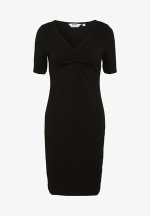 RUCHED FRONT BODYCON DRESS - Pouzdrové šaty - black