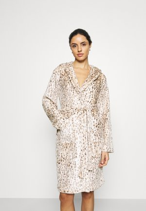 LEOPARD PRINT LUXURY ROBE WITH HOOD - Badjas - brown
