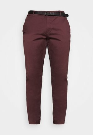 STRETCH WITH BELT - Chino - wine