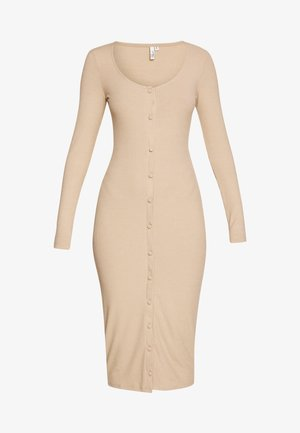 FRONT BUTTON DRESS - Vestido de tubo - beige