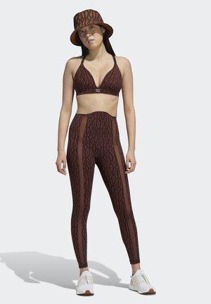 IVY PARK MONOGRAM SHEER PANEL TIGHTS - Leggings - Trousers - night red wild brown