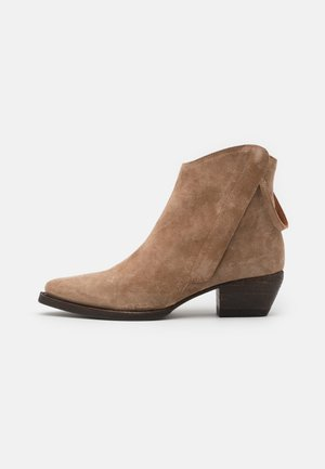 Cowboy/biker ankle boot - dessert/taupe