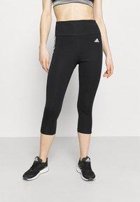 adidas Performance - 3/4 sportovní kalhoty - black/white - 0