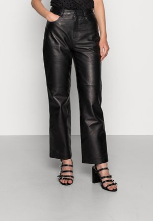 MARIA TROUSERS - Leather trousers - black