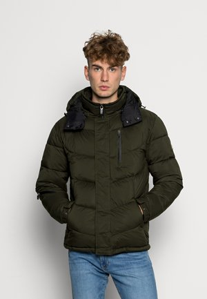 HOODED WATER REPELLENT PUFFER JACKET - Winter jacket - utility green